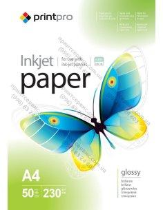 Фотобумага PrintPro глянцевая 230 г/м, A4, 50 л. (PGE230050A4)