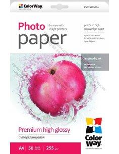 Фотобумага ColorWay суперглянцевая 255 г/м, A4, 50 л. (PSG255050A4)