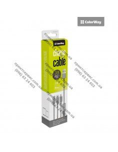 Кабель Colorway 3в1 (Lightning+MicroUSB+Type-C) серый